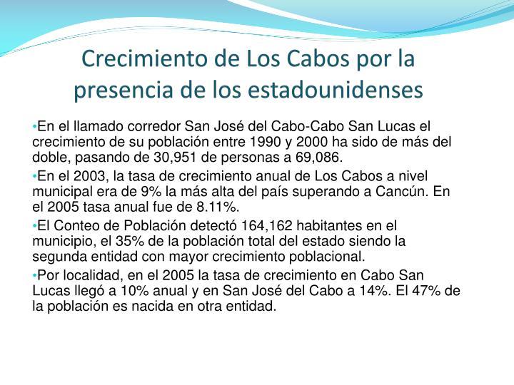 Crecimiento de Los Cabos por la presencia de los estadounidenses