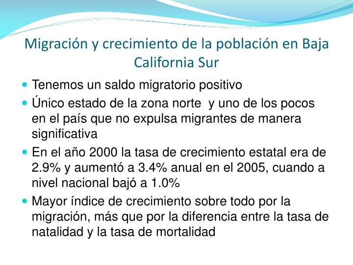 Migración y crecimiento de la población en Baja California Sur