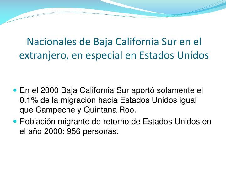 Nacionales de Baja California Sur en el
