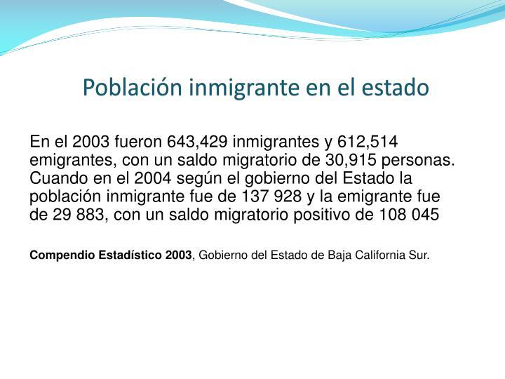 Población inmigrante en el estado