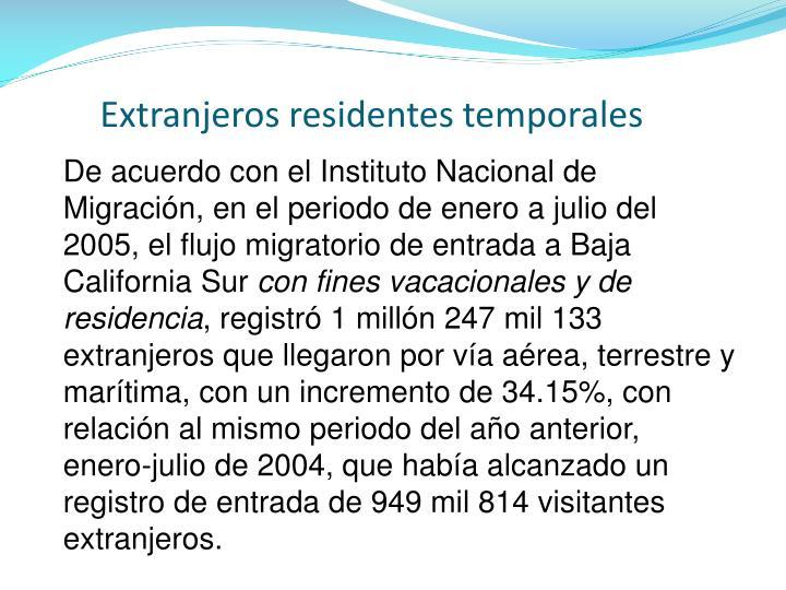 Extranjeros residentes temporales