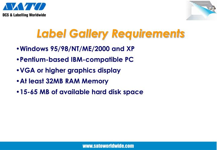 Label Gallery Requirements