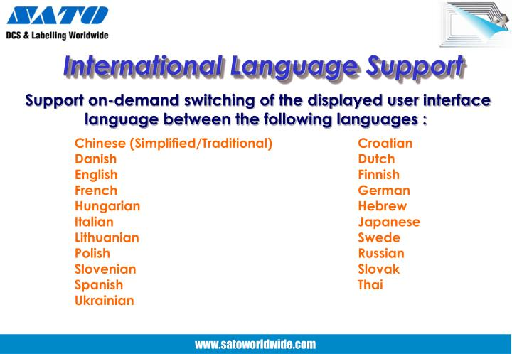 International Language Support