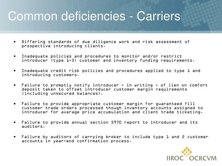 Differing standards of due diligence work and risk assessment of prospective introducing clients.