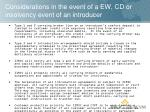 considerations in the event of a ew cd or insolvency event of an introducer
