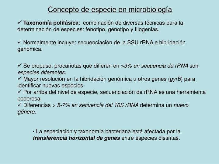 Concepto de especie en microbiolog