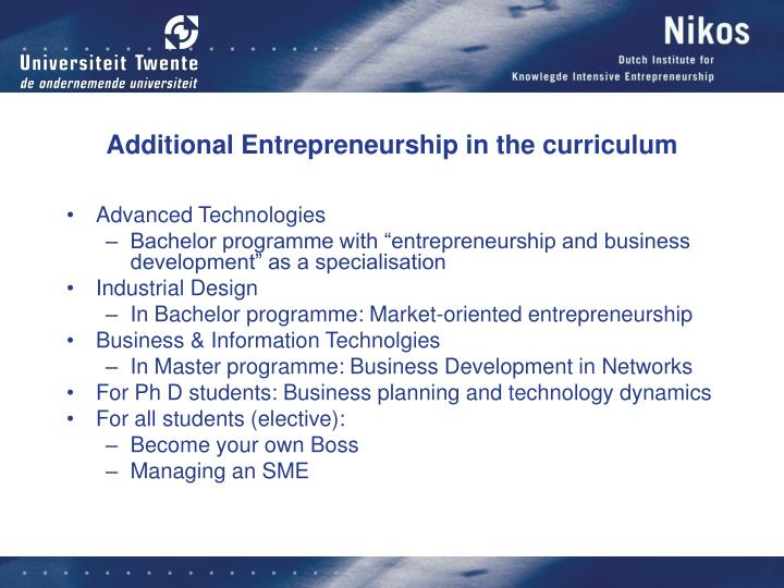Additional Entrepreneurship in the curriculum
