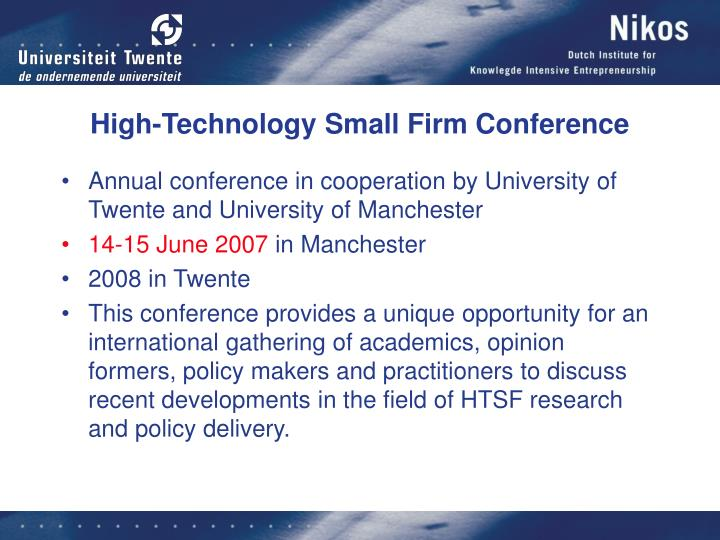 High-Technology Small Firm Conference
