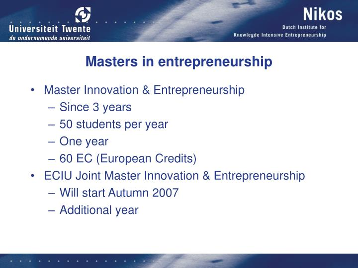 Masters in entrepreneurship