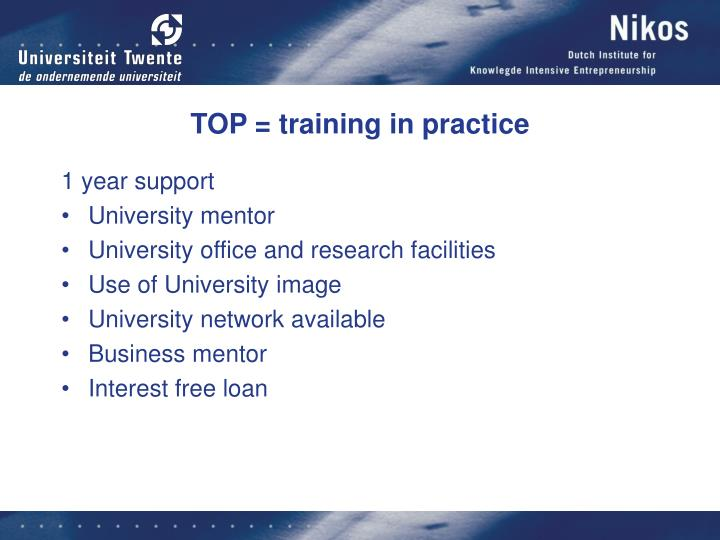 TOP = training in practice
