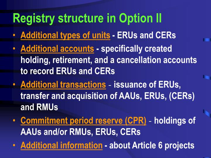 Registry structure in Option II