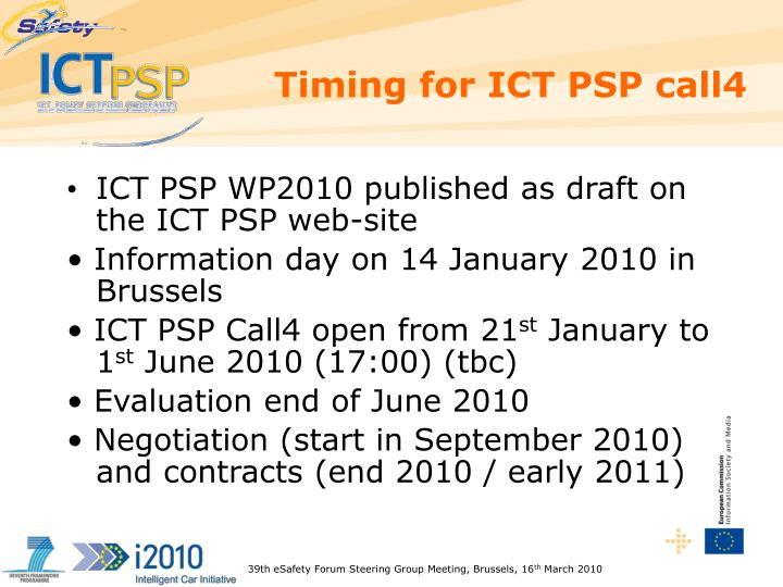 Timing for ICT PSP call4