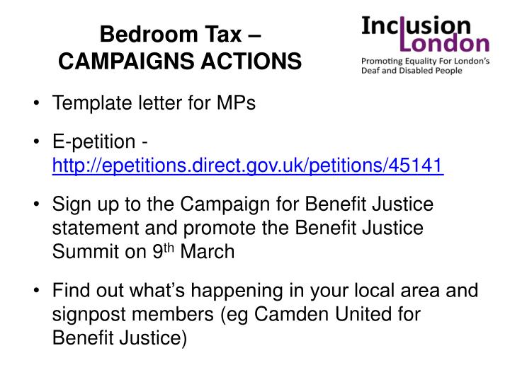 Bedroom Tax – CAMPAIGNS ACTIONS