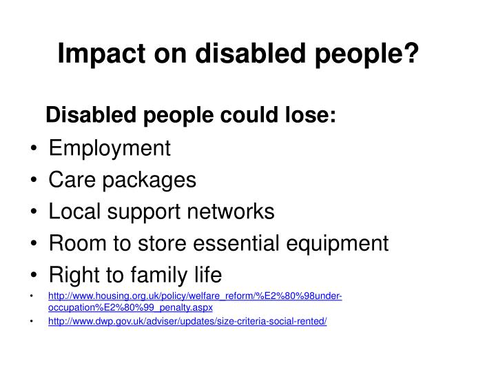 Impact on disabled people?