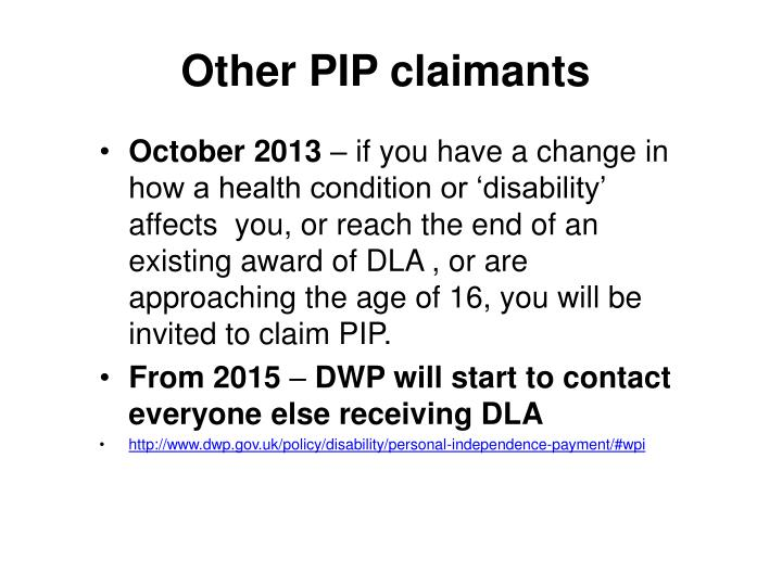 Other PIP claimants