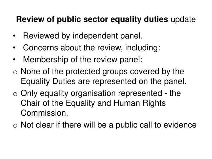 Review of public sector equality duties