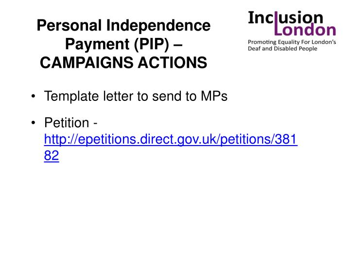 Personal Independence Payment (PIP) – CAMPAIGNS ACTIONS