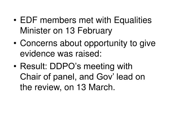 EDF members met with Equalities Minister on 13 February