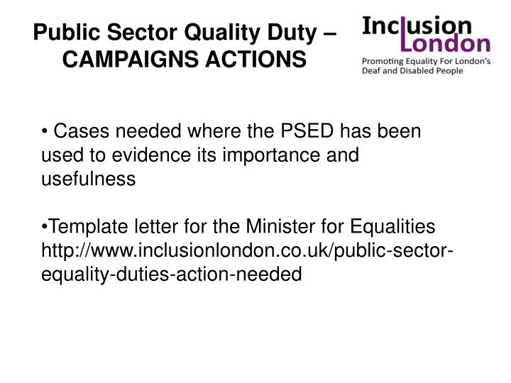 Public Sector Quality Duty – CAMPAIGNS ACTIONS