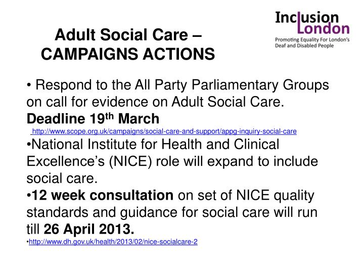 Adult Social Care – CAMPAIGNS ACTIONS
