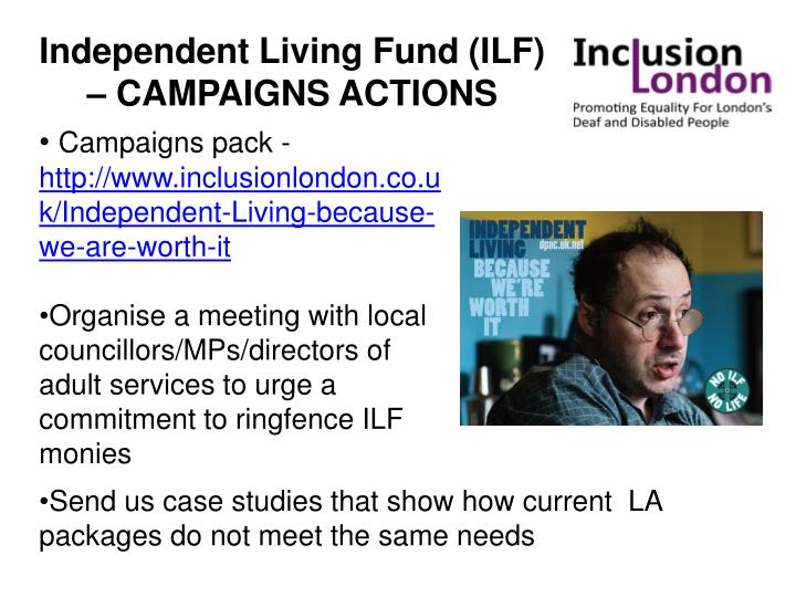 Independent Living Fund (ILF) – CAMPAIGNS ACTIONS