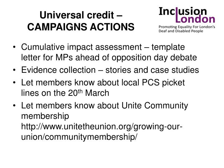 Universal credit – CAMPAIGNS ACTIONS