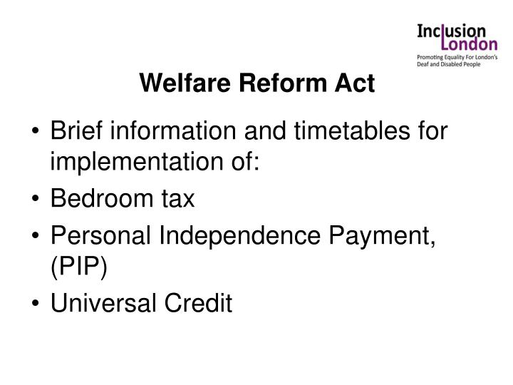 Welfare Reform Act