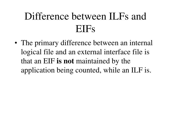 Difference between ILFs and EIFs