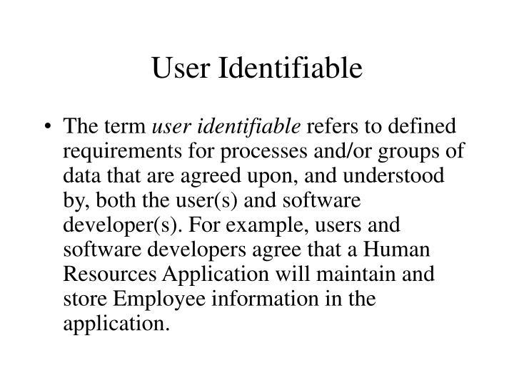 User Identifiable