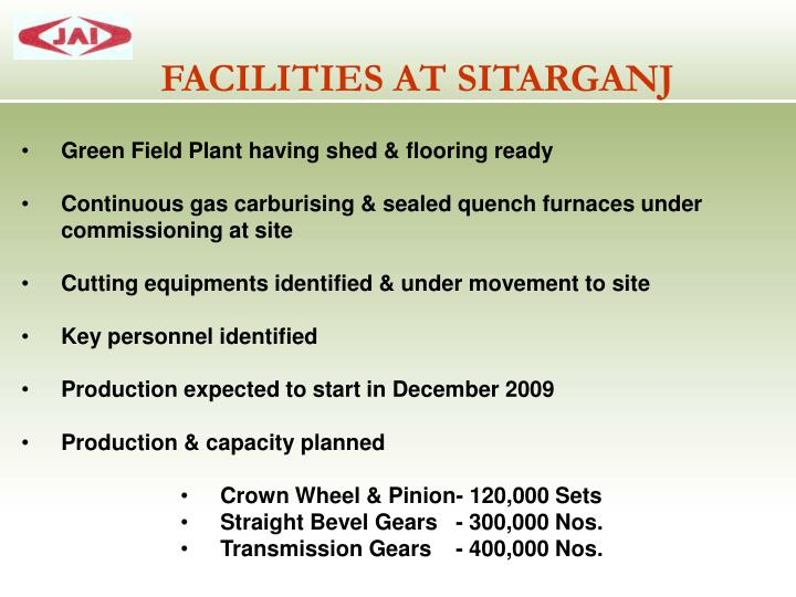 FACILITIES AT SITARGANJ