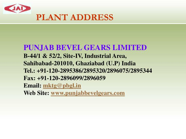 PLANT ADDRESS