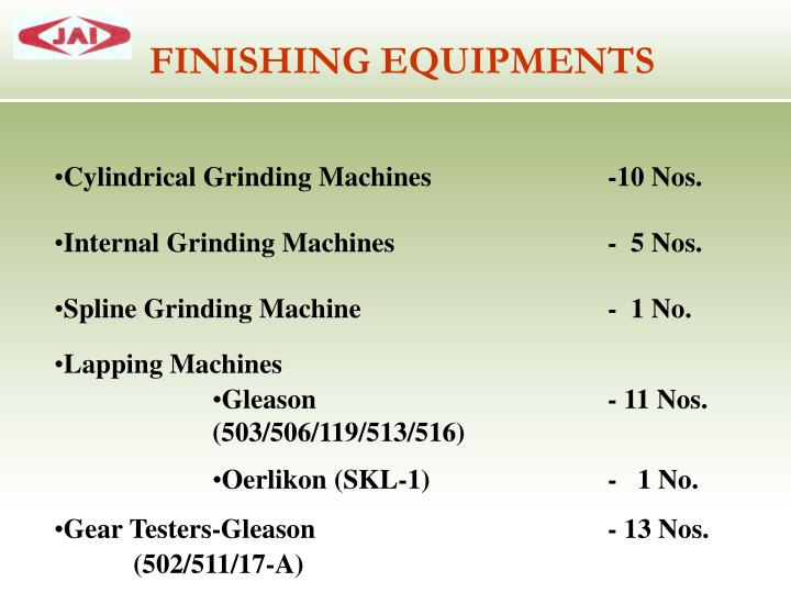 FINISHING EQUIPMENTS
