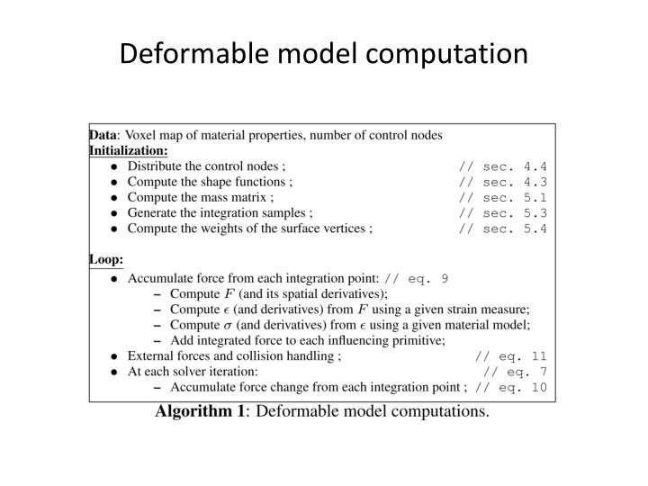 Deformable model computation