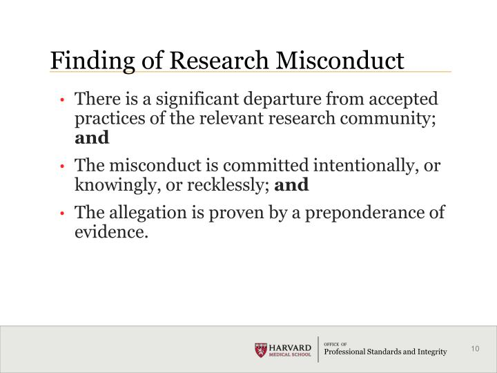 Finding of Research Misconduct