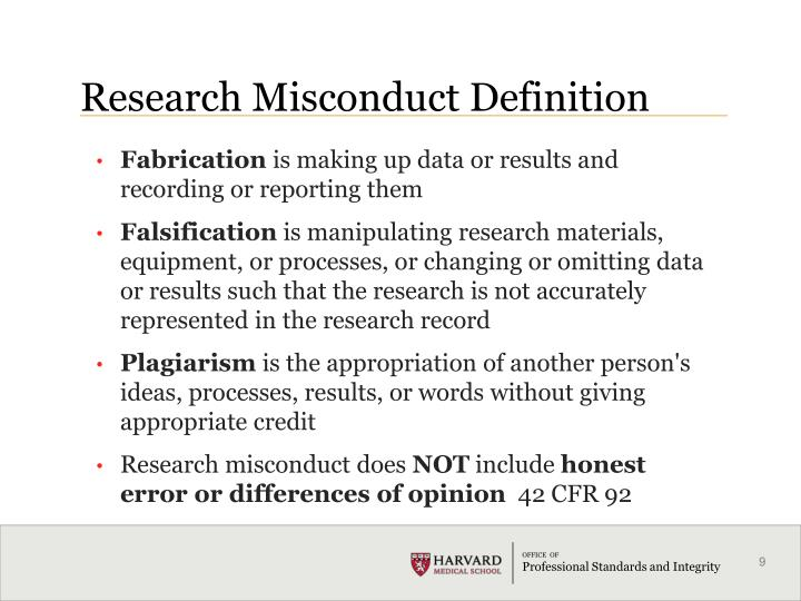 Research Misconduct Definition