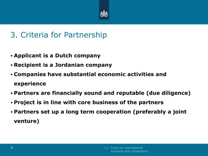 3. Criteria for Partnership