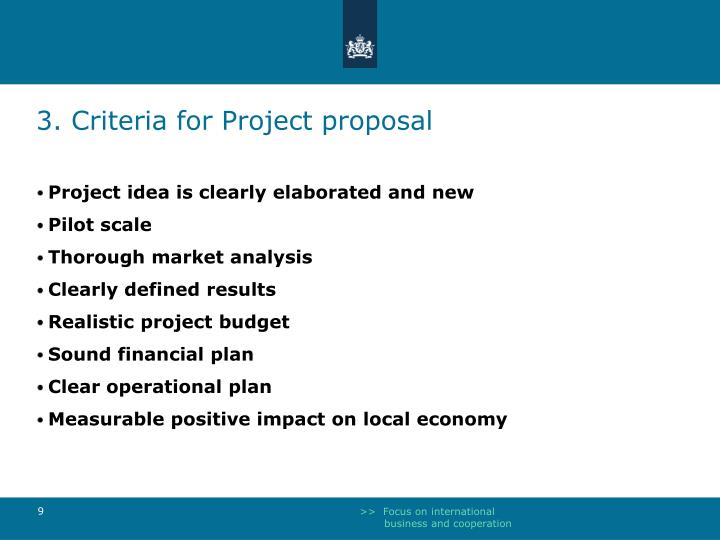 3. Criteria for Project proposal
