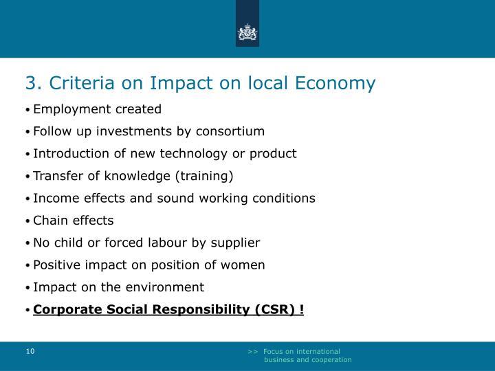 3. Criteria on Impact on local Economy