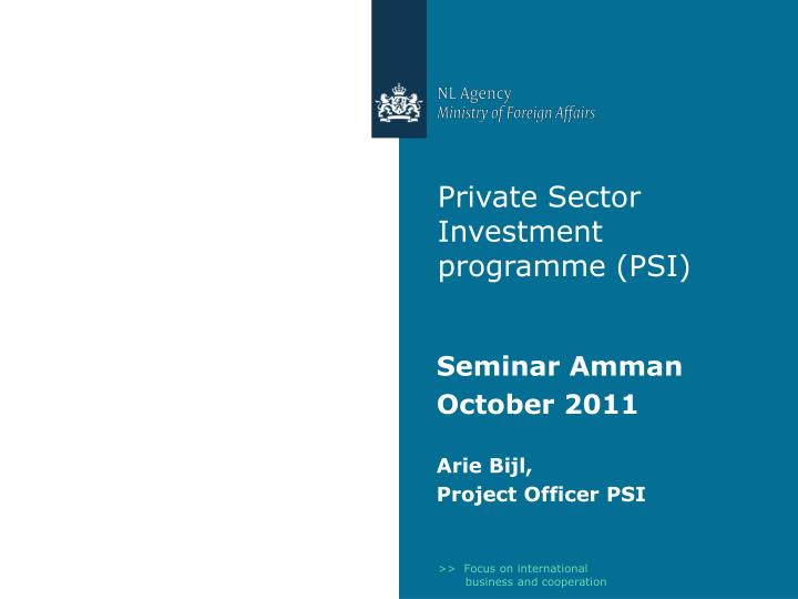 Private sector investment programme psi
