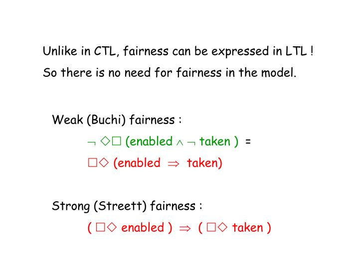 Unlike in CTL, fairness can be expressed in LTL !