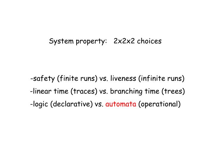 System property:   2x2x2 choices