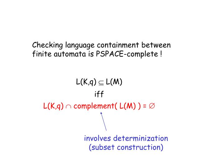 Checking language containment between finite automata is PSPACE-complete !