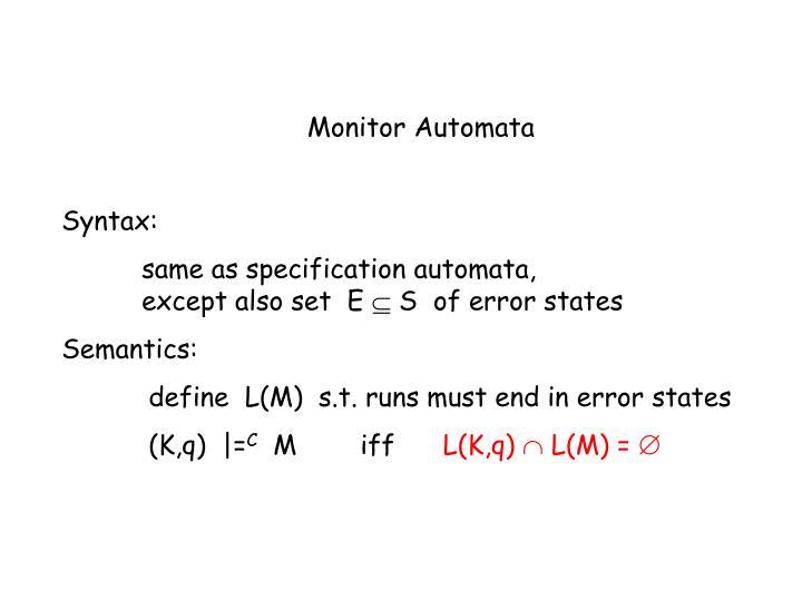 Monitor Automata