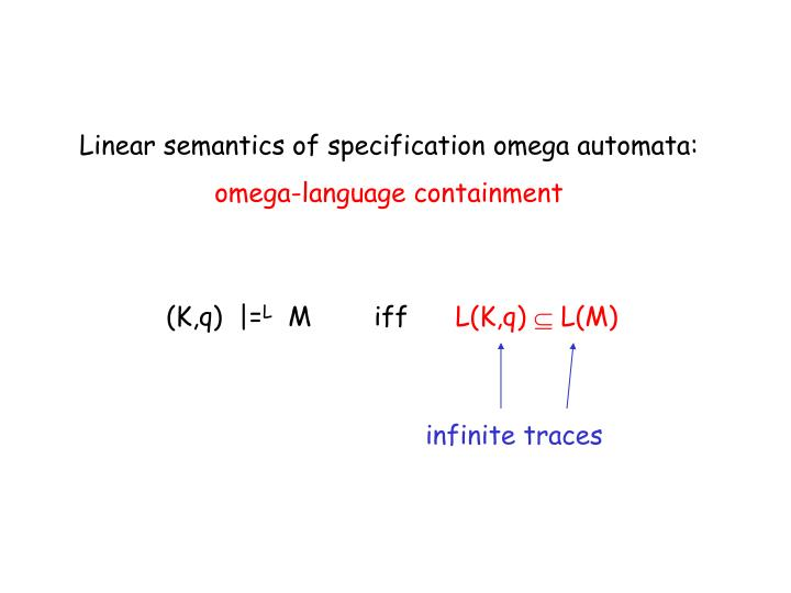 Linear semantics of specification omega automata: