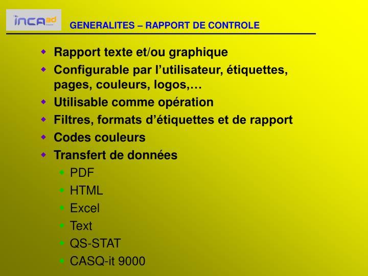 GENERALITES – RAPPORT DE CONTROLE