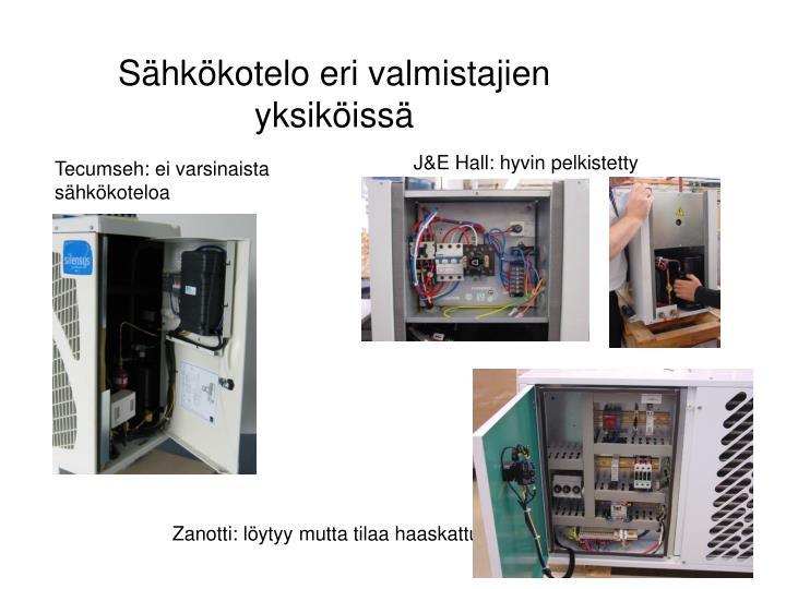 Sähkökotelo eri valmistajien yksiköissä