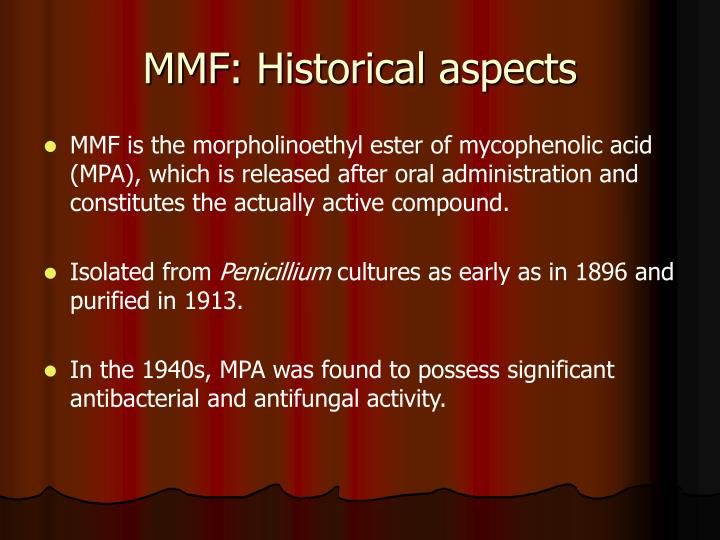 Mmf historical aspects