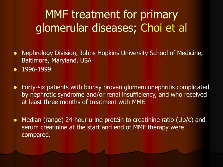MMF treatment for primary