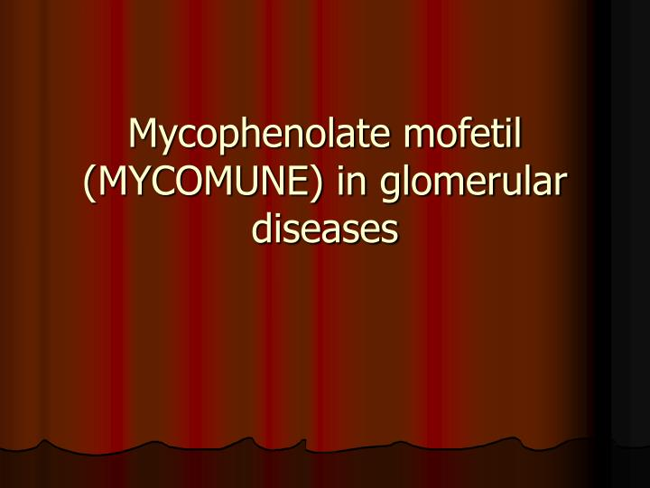 Mycophenolate mofetil mycomune in glomerular diseases