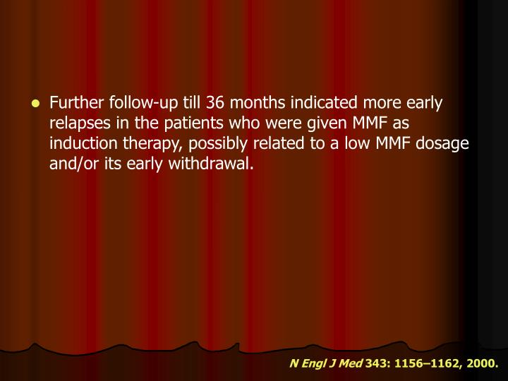 Further follow-up till 36 months indicated more early relapses in the patients who were given MMF as induction therapy, possibly related to a low MMF dosage and/or its early withdrawal.
